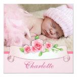 Invitaciones color de rosa rosadas del nacimiento invitaciones personales