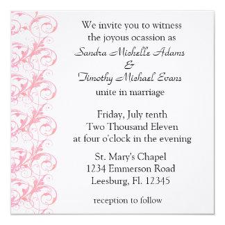 """Invitaciones color de rosa y blancas románticas invitación 5.25"""" x 5.25"""""""