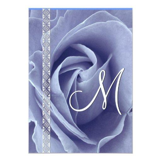 Invitaciones color de rosa y del cordón AZULES EN Invitación 12,7 X 17,8 Cm