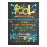 Invitaciones coloridas de la fiesta en la piscina
