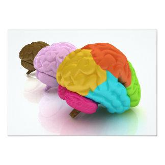 """Invitaciones coloridas de los cerebros humanos invitación 5"""" x 7"""""""