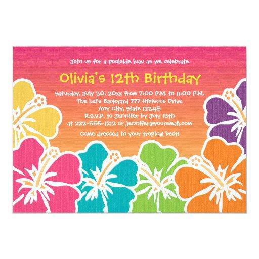 Invitaciones coloridas del cumpleaños del hibisco invitaciones personales