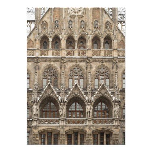 Invitaciones con arquitectura gótica del renacimie comunicados personales