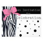 Invitaciones con la cebra y los lunares comunicados