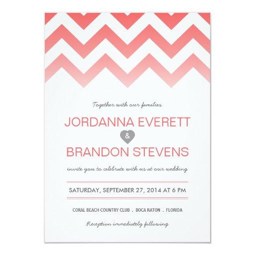 """Invitaciones coralinas del boda de Chevron Ombre Invitación 4.5"""" X 6.25"""""""
