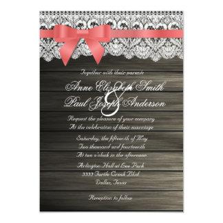 Invitaciones coralinas del boda del arco de madera invitación 12,7 x 17,8 cm
