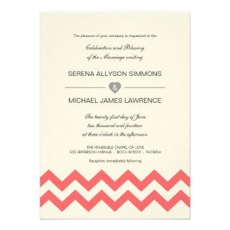 Invitaciones coralinas y de marfil del boda de Che Anuncio
