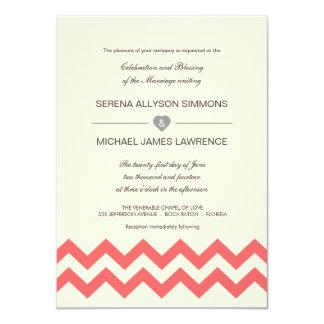 """Invitaciones coralinas y de marfil del boda de invitación 4.5"""" x 6.25"""""""