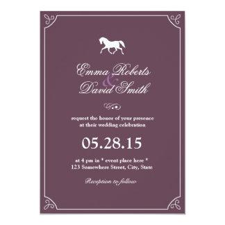 Invitaciones corrientes del boda del caballo del comunicados personalizados
