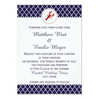 Invitaciones costeras del boda de Quatrefoil Invitación 11,4 X 15,8 Cm