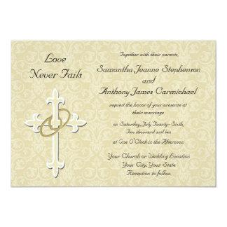 Invitaciones cristianas del boda de los anillos de invitación 12,7 x 17,8 cm
