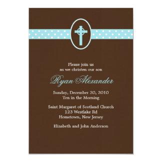 Invitaciones cruzadas azules del bautizo comunicados personalizados