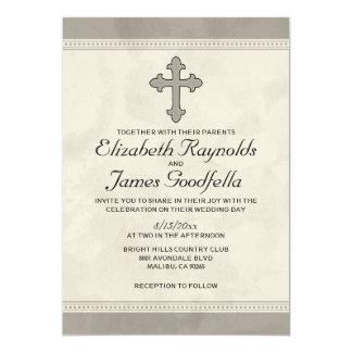 Invitaciones cruzadas del boda del hierro invitación 12,7 x 17,8 cm