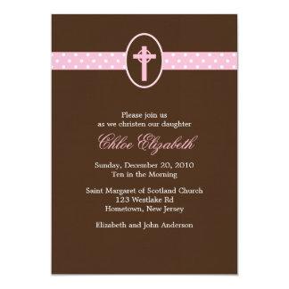 Invitaciones cruzadas rosadas del bautizo anuncios