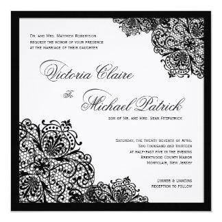 Invitaciones cuadradas de lino blancas del boda comunicados personalizados