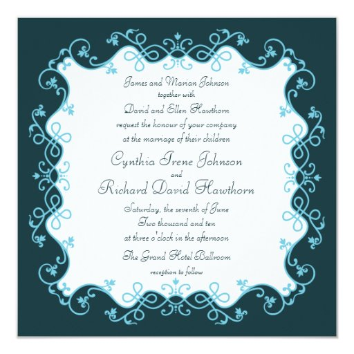 Invitaciones cuadradas del boda de la aguamarina invitación 13,3 cm x 13,3cm