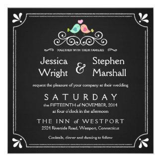 Invitaciones cuadradas del boda de los Lovebirds d Comunicado