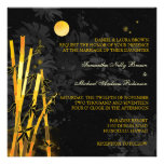 Invitaciones de bambú de oro del boda del negro y invitacion personal