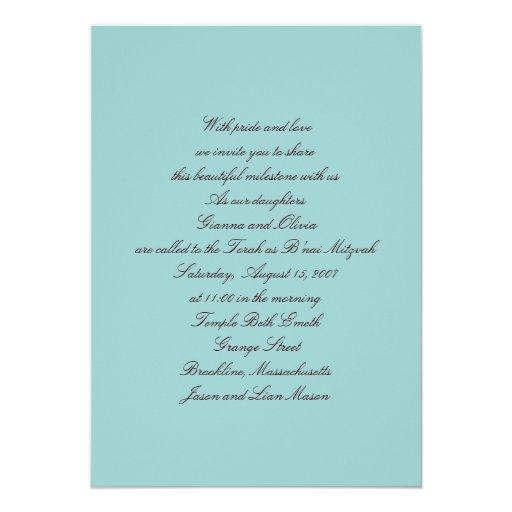 """Invitaciones de B'nai Mitzvah Invitación 5"""" X 7"""""""