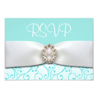 """Invitaciones de boda azules de RSVP Invitación 3.5"""" X 5"""""""