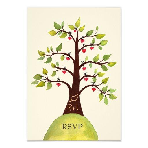 Invitaciones de boda del árbol del verde del invitación 8,9 x 12,7 cm