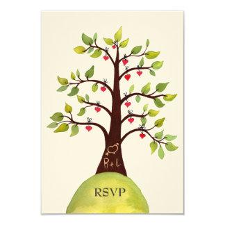 """Invitaciones de boda del árbol del verde del invitación 3.5"""" x 5"""""""