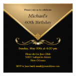 Invitaciones de Brithday del negro elegante del or