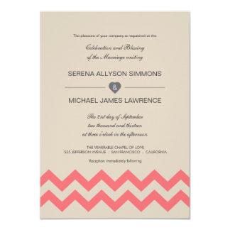 """Invitaciones de color topo y coralinas del boda de invitación 4.5"""" x 6.25"""""""