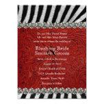 Invitaciones de cuero rojas del boda del diamante invitacion personalizada