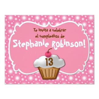 Invitaciones de cumpleaños, Fiesta de Rosa cupcake Card