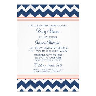 Invitaciones de encargo azules coralinas de la fie invitación personalizada