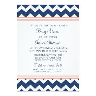 """Invitaciones de encargo azules coralinas de la invitación 5"""" x 7"""""""