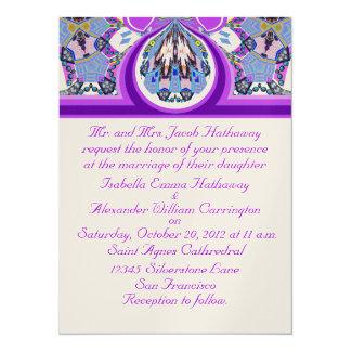 Invitaciones de encargo del boda de la lavanda invitación 13,9 x 19,0 cm