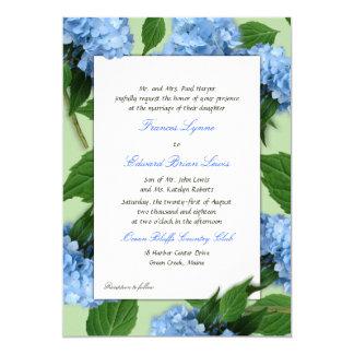 """Invitaciones de encargo del boda del Hydrangea del Invitación 5"""" X 7"""""""