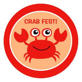"""Invitaciones de encargo del Cookout del cangrejo Invitación 5.25"""" X 5.25"""""""