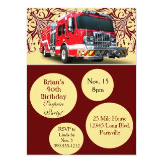 """Invitaciones de encargo del cumpleaños del bombero invitación 6.5"""" x 8.75"""""""