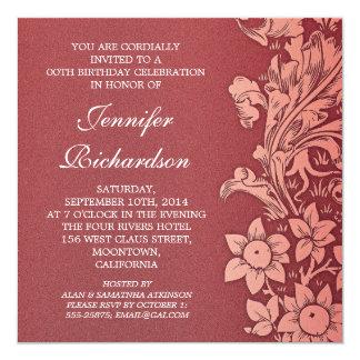 invitaciones de encargo del cumpleaños del damasco invitación