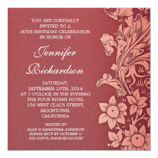 """invitaciones de encargo del cumpleaños del damasco invitación 5.25"""" x 5.25"""""""