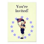 Invitaciones de encargo del fiesta de la bandera anuncio personalizado