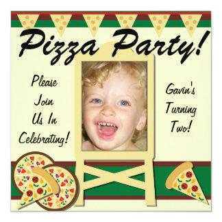 """Invitaciones de encargo del fiesta de la pizza de invitación 5.25"""" x 5.25"""""""