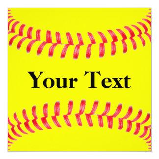 Invitaciones de encargo del softball invitación 13,3 cm x 13,3cm