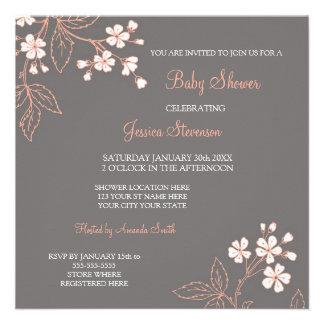 Invitaciones de encargo florales grises coralinas anuncios personalizados