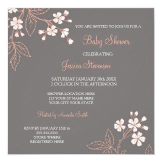"""Invitaciones de encargo florales grises coralinas invitación 5.25"""" x 5.25"""""""