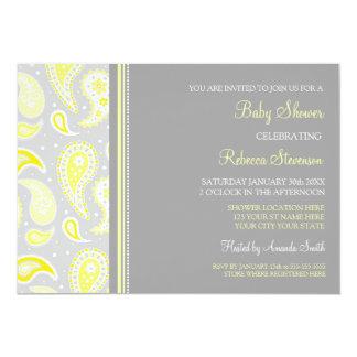 """Invitaciones de encargo grises amarillas de la invitación 5"""" x 7"""""""