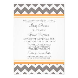 Invitaciones de encargo grises anaranjadas de la f invitación personalizada