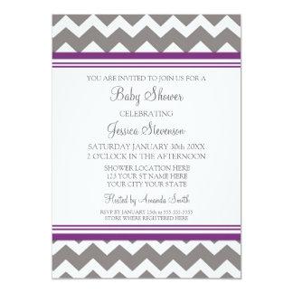 """Invitaciones de encargo grises púrpuras de la invitación 5"""" x 7"""""""