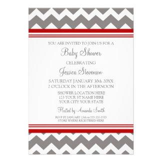 Invitaciones de encargo grises rojas de la fiesta invitación