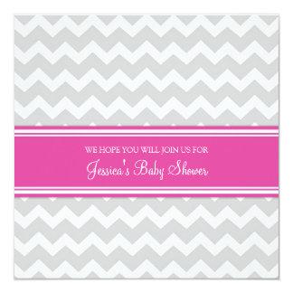 """Invitaciones de encargo grises rosadas de la invitación 5.25"""" x 5.25"""""""