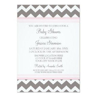 """Invitaciones de encargo grises rosadas de la invitación 5"""" x 7"""""""