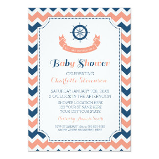 Invitaciones de encargo náuticas azules coralinas invitaciones personales